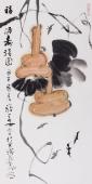 【已售】著名禅意画家周自豪三尺葫芦《福禄寿喜图》
