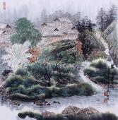 广西美协欧阳 斗方山水画《碧水春晓》