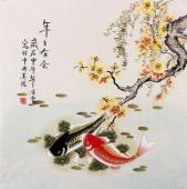 北京美协 工笔画名家 凌雪斗方工笔鱼《年年有余》
