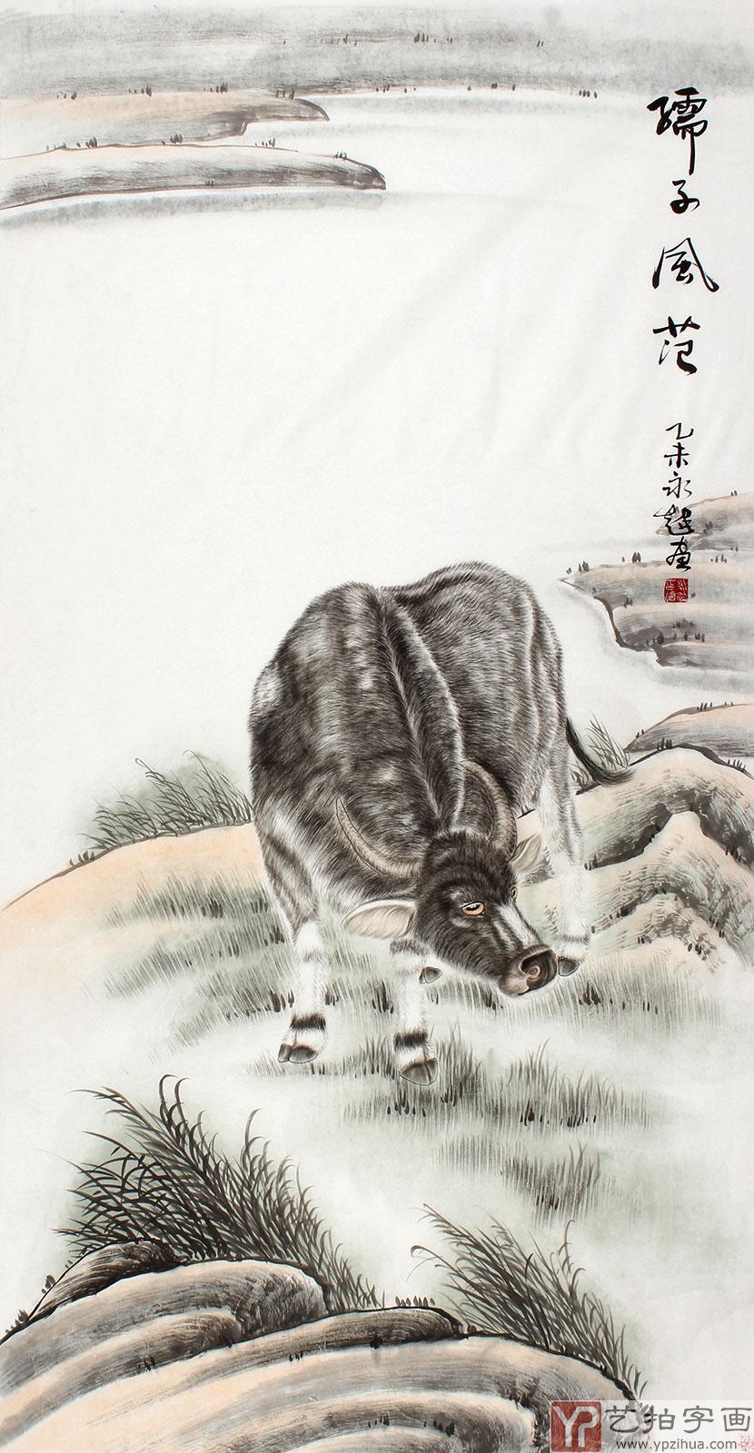 【已售】河南美协魏永超四尺工笔画《孺子风范》图片