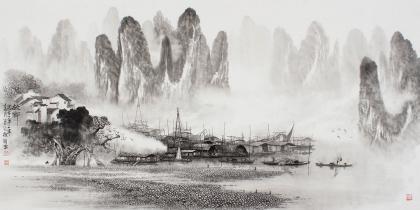 漓江画派莫桂明 四尺水墨山水《故乡》