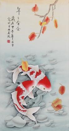 【已售】北京美协 工笔画名家 凌雪三尺竖幅工笔鱼画《年年有余》