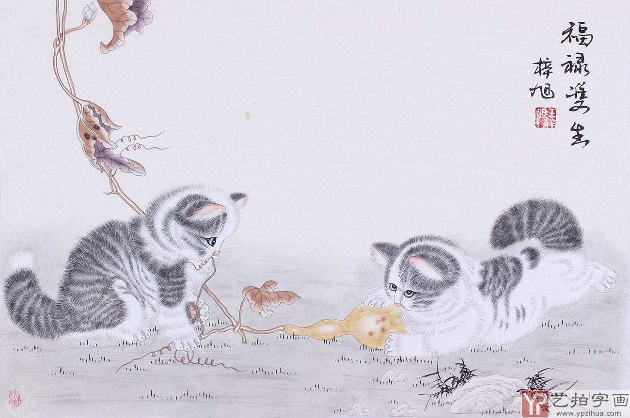 副国画猫把动物可爱的一面刻画的极其入微传神,可爱的小猫神态可掬,本