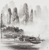 【已售】漓江画派莫桂明 四尺斗方写意水墨《万峰叠翠影百里》