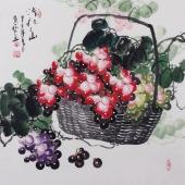 【已售】黄艺 三尺斗方国画葡萄《清秋图》