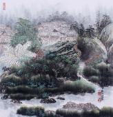 广西美协欧阳 斗方山水《春色满园》