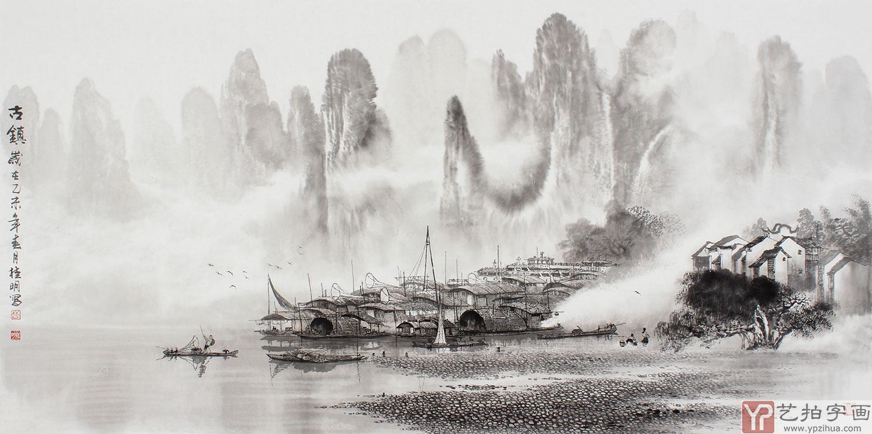 【已售】漓江画派莫桂明四尺水墨山水《古镇》-写意画