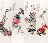 北京美协 工笔画名家 凌雪工笔花鸟四条屏《春夏秋冬》