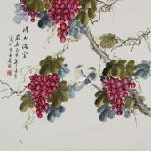 【已售】北京美协 工笔画名家 凌雪斗方工笔画《珠玉满堂》