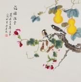 【已售】北京美协 工笔画名家 凌雪斗方工笔画《福禄安康》
