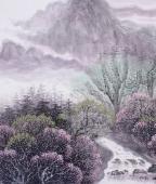广西美协欧阳 小六尺写意山水《春山积翠》