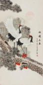 【已售】河南美协王文秀 四尺国画 工笔松鹤图《松鹤长春》