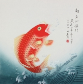 【已售】北京美协 工笔画名家 凌雪斗方工笔画《鲤鱼跳龙门》