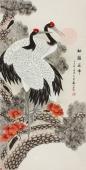 【已售】河南美协王文秀 四尺国画 工笔松鹤图《松鹤延年》