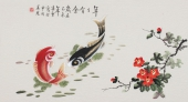 北京美协 工笔画名家 凌雪三尺工笔《年年有余》