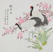 【已售】北京美协 工笔画名家 凌雪斗方工笔画《鹤寿图》