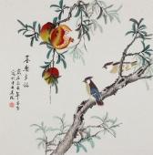 【已售】北京美协 工笔画名家 凌雪斗方工笔画《喜乐多福》