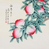【已售】工笔画名家 凌雪斗方工笔画《福寿康宁》