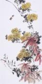 【已售】河北花鸟名家王学增 三尺 写意花鸟《金秋秀色》
