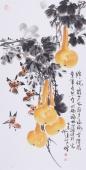 【已售】河北花鸟名家王学增 三尺 写意花鸟《福禄图》