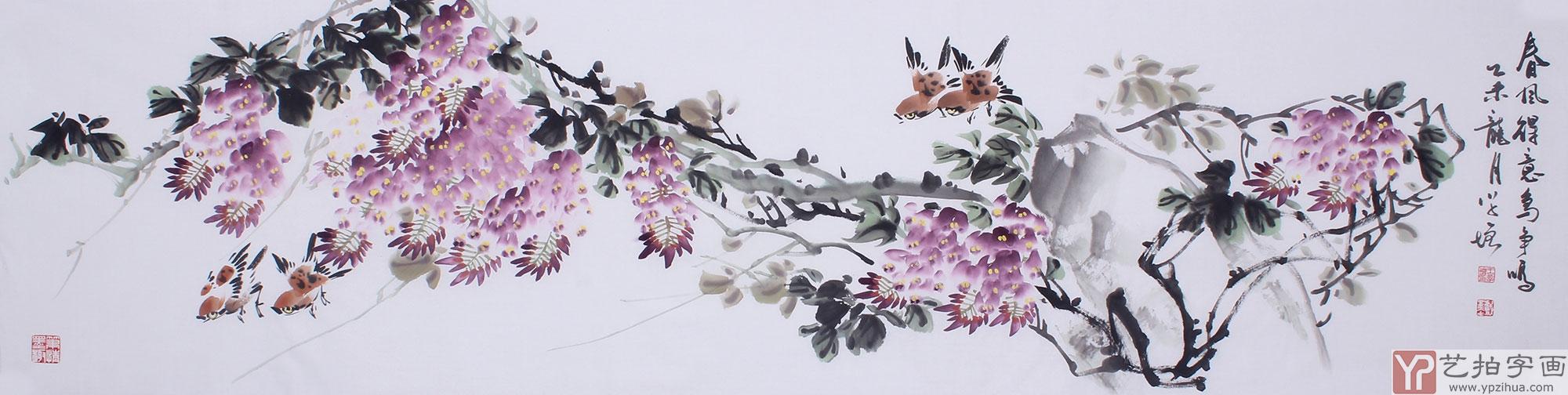 【已售】河北花鸟名家王学增 六尺对开 写意花鸟《春风得意》图片