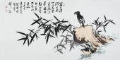 清华美院张国稳 四尺写意花鸟《涧水流》