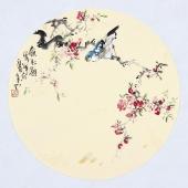 【已售】实力派画家天语写意花鸟团扇《赏花图》