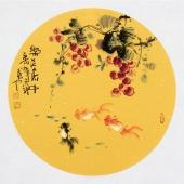 【已售】实力派画家天语写意花鸟团扇《乐在其中》