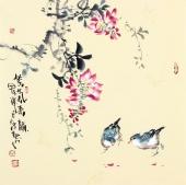 【已售】实力派画家天语写意花鸟斗方《紫气来韵》