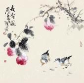 【已售】实力派画家天语写意花鸟斗方《长寿图》