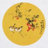 实力派画家天语写意花鸟团扇《大利吉祥》