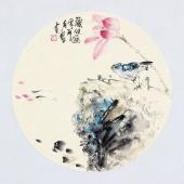 【已售】实力派画家天语写意花鸟团扇《观鱼图》