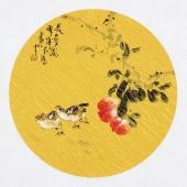 实力派画家天语写意花鸟团扇《长寿图》
