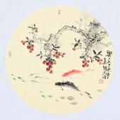 实力派画家天语写意花鸟团扇《乐在其中》
