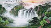 【已售】赵君梅六尺国画山水《旭日祥云》