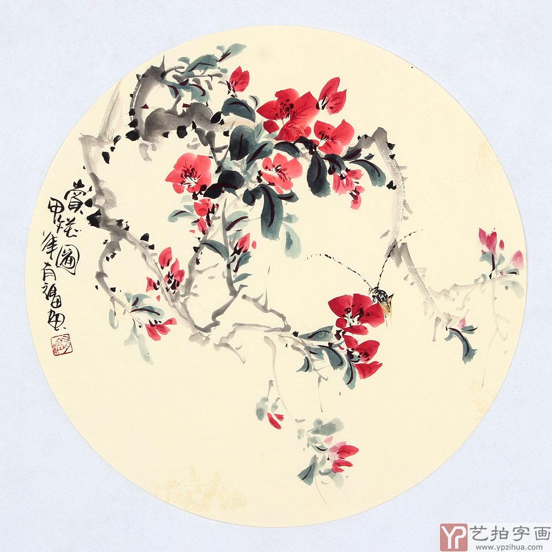 实力派画家天语写意花鸟团扇《赏花图》