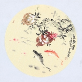 实力派画家天语写意花鸟团扇《鱼乐图》