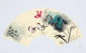 实力派画家天语写意花鸟扇面《清影图》