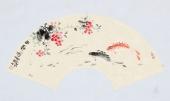 【已售】实力派画家天语写意花鸟扇面《鱼乐图》
