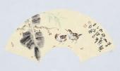 实力派画家天语写意花鸟扇面《清韵如歌》