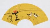 实力派画家天语写意花鸟扇面《古灯清影》
