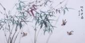 【询价】随州市美协秘书长刘耀元 四尺国画《竹报平安》