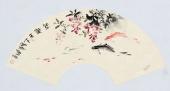 实力派画家天语写意花鸟扇面《鱼乐天下》