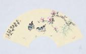 【已售】实力派画家天语写意花鸟扇面《花香引君》
