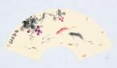 实力派画家天语写意花鸟扇面《鱼乐图》