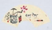 实力派画家天语写意花鸟扇面《清香图》