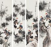 山东画家张清栋 花鸟四条屏《铁骨高节》