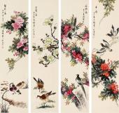 花鸟四条屏 花鸟名家张清栋精品花鸟《春之韵》