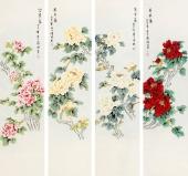 著名花鸟画家张清栋 工笔牡丹四条屏《天香图》