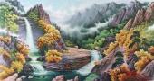 朝鲜二级艺术家尹哲山水画作品《七宝山的溪谷》